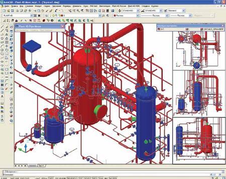 Фрагмент трехмерной модели, выполненной в модуле PLANT-4D Трубопроводы (PIPE)