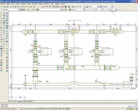 Фрагмент чертежа, сгенерированного модулем PLANT-4D Генератор чертежей (2D Deliverable)