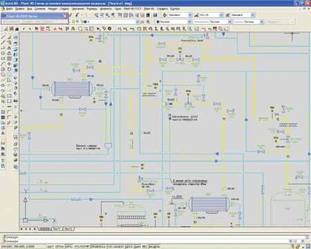 Фрагмент технологической схемы, выполненной в модуле PLANT-4D Схемы (P&ID)