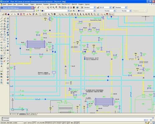 Пример монтажно-технологической схемы, выполненной в PLANT-4D P&ID